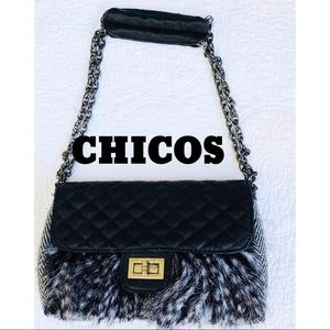 Chico's Quilted Faux Leather and Fur Purse